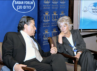 Mega-donor Haim Saban and Jane Harman