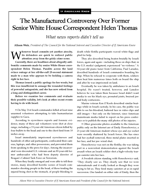 Cover of Helen Thomas article