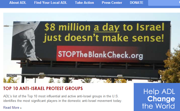 One of our billboards on the ADL homepage