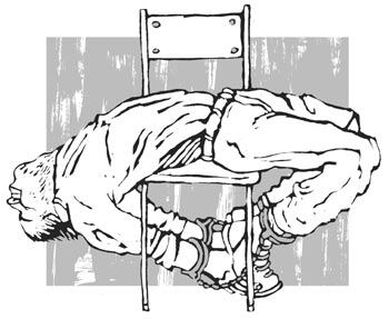 The ''banana'' position - bending the back of the interrogee in an arch while he is seated on a backless chair (5 cases).