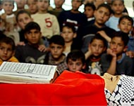 Photo of a Palestinian boy's body before his burial.