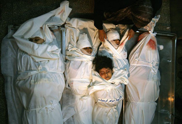 5 Palestinian sisters were killed when Israel bombed the mosque next door.