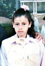 Photo of Iman Al-Hams, the thirteen-year-old Palestinian girl who was killed when an Israeli soldier shot her ten times.