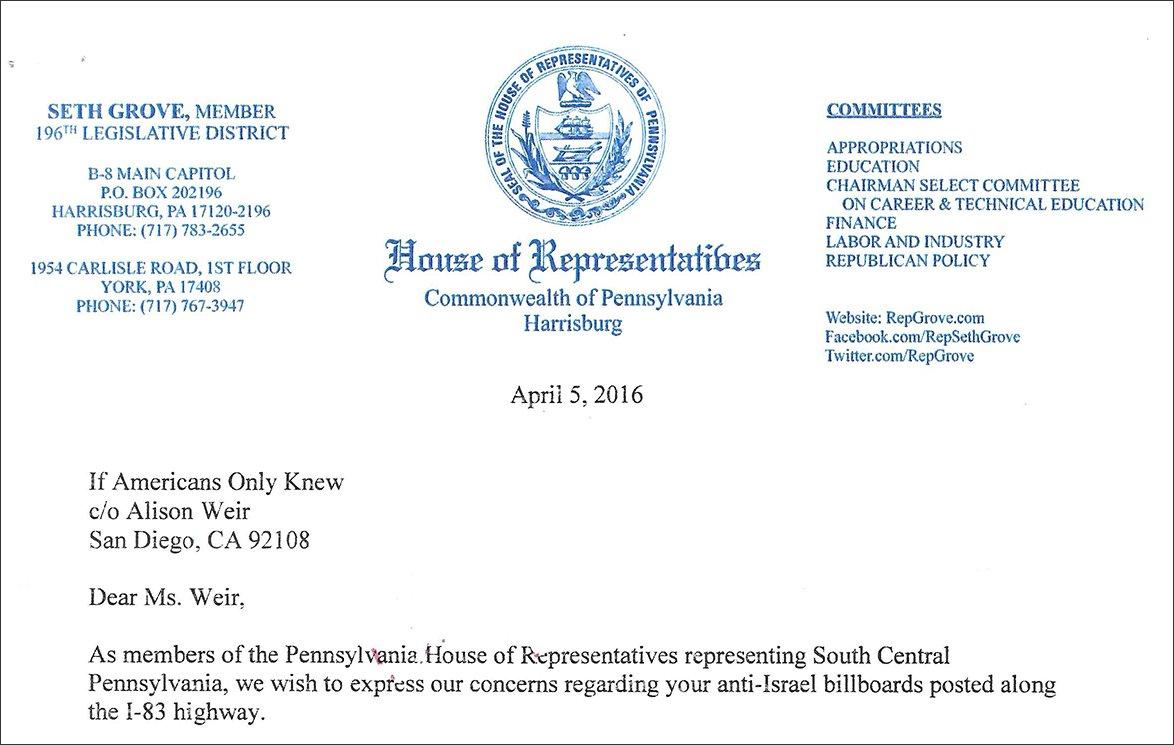 Letter from PA state legislators