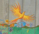 A large yellow bird has been painted on the wall between the Aamer home and their village.