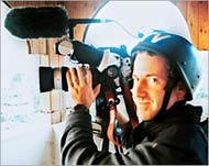 Photo of James Miller filming in Palestine shortly before he was shot to death by Israeli soldiers.