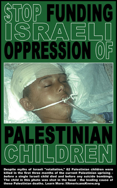 Poster saying $top Funding Israeli Oppression of Palestinian Children
