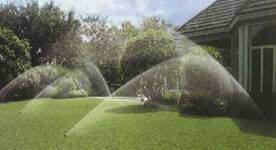 An Israeli lawn is watered with five sprinklers.