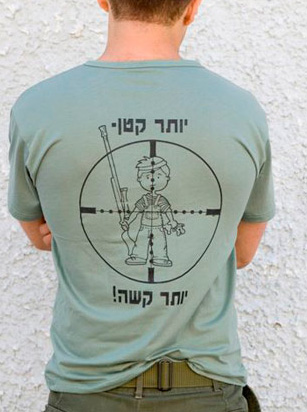 T-shirt with a child in the crosshairs and a caption reading: The smaller, the harder.
