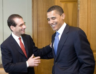 Democratic fund-raiser Alan Solomont, left, with Sen. Barack Obama.