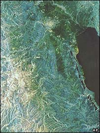 Aerial view of the River Jordan.